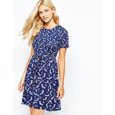 Oasis Floral Printed Skater Dress ($64) ❤ liked on Polyvore featuring dresses, navy, navy blue dress, white floral print dress, waist belt, white dress and tall dresses