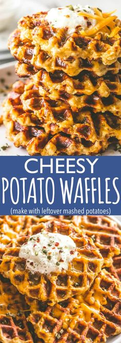 Cheesy Potato Waffles - Delicious, cheesy, and savory waffles prepared with leftover mashed potatoes and cheddar cheese. Crispy on the outside and fluffy on the inside, these potato waffles not only taste amazing, but they are a super fun meal to serve to Potato Waffles, Savory Waffles, Potato Diet, Leftovers Recipes, Brunch Recipes, Breakfast Recipes, Cheesy Mashed Potatoes, Mashed Potato Recipes, Baked Potatoes