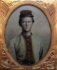 Beautiful ninth plate tintype of an unknown Zoauve.