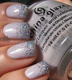 White-peach polish; sparkle silver polish