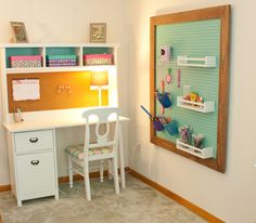 Back to school desk plans at Ana-White.com. Peg board organizer from Shanty 2 Chic