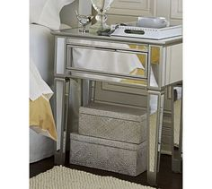 Adding Shine With Mirrored Furniture Pinterest Pottery Barn - Pottery barn mirrored bedside table