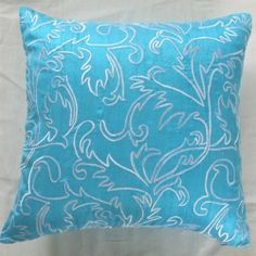 turquoise blue silk throw pillow and decorative cushion with moroccan | comfyheaven - Housewares on ArtFire