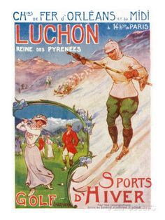 Bagnares-De-Luchon, France - Views of Golfing and Skiing, Orleans Railway Postcard, c.1920 Posters sur AllPosters.fr