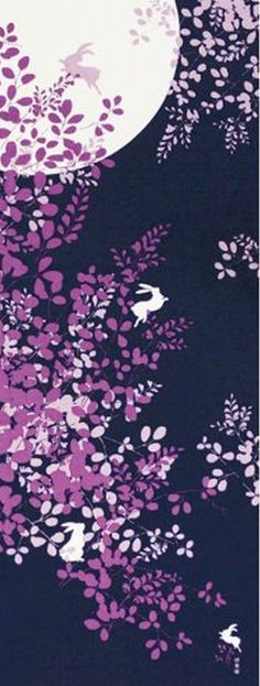 Japanese Tenugui Towel Fabric Moon Moonlight Rabbit Hand