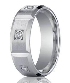 Designer 950 Platinum Burnish Diamond Men's Wedding Band   8mm
