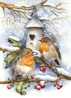 Kreative und Großartige Rotkehlchen im Winter Creative and great robins in winter # robins # winter Christmas Bird, Christmas Scenes, Christmas Animals, Vintage Christmas Cards, Christmas Pictures, Xmas Cards, Vintage Cards, Vintage Postcards, Christmas Crafts