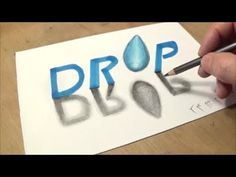 How to Draw 3D Text Drop - Drawing 3D Letters Drop - Vamos