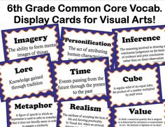 sixth grade classroom ideas | 6th Grade Common Core Vocabulary for Visual Art