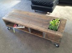 Pallet Wooden Coffee Table with Planter