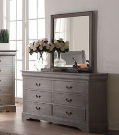 Louis Philippe III Antique Grey Mirror 25504