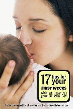 Find the best tips (from real moms) for surviving those exhausting first weeks with a newborn at B-InspiredMama.com.