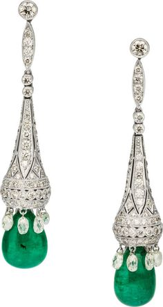 Full And Briolette-Cut Diamond And Teardrop-Shaped Emerald Earrings Set In 18k White Gold Earrings. Stunning!