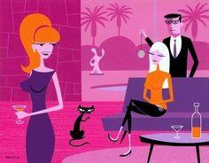 (usa) Pink and orange by Josh Agle ). Retro Kunst, Retro Art, Funky Art, Mid Century Modern Art, Mid Century Art, 21st Century, Tiki Art, Cool Sketches, Look At You