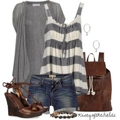 """""""Sea Storm"""" by kaseyofthefields on Polyvore (Love, love, love top! Love complete look except not in shorts. Love wedges actually!)"""