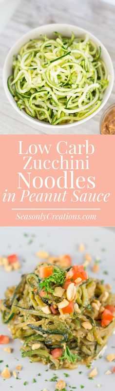 Low Carb Zucchini Noodles with Peanut Sauce {Keto-Friendly, Dairy-Free Recipe}. This recipe makes a great side dish or appetizer. Each serving has just 5.4g net carbs and 135 calories.
