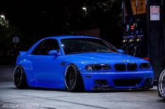 BMW E46 M3 blue widebody slammed