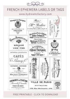 French Ephemera Labels or Tags - www.bydreamsfactory.com