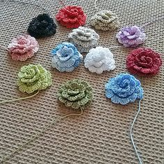 Crochet roses Appliques shapes rose Flowers pattern by MyWealth