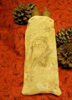Primitive Feedsack Grubby Candle Bag Hand by harvestmoonprims, $5.00