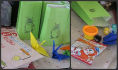 totoro party favor bags--daiso coloring books, japanese erasers, felt totoro, totoro cookie