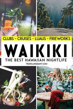 All the most amazing things to do in Waikiki at night, with tips on where to go for every pocket! Lounge bars, jazz clubs, fireworks and cocktail cruises! Oahu Luau, Honolulu Hawaii, Aloha Hawaii, Hawaii Trips, Hawaii Beach, Visit Hawaii, Tahiti Tattoo, Oahu Vacation, Lifestyle