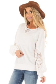 a4dd3072c0 Lime Lush Boutique - Off White Bubble Sleeve Top with Sheer Lace Detail