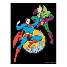 Shop Superman Fights Lex Luthor Postcard created by superman. Personalize it with photos & text or purchase as is! Superman Logo, Batman, Comic Art, Comic Books, Lex Luthor, Superhero Design, Clark Kent, Dog Bowtie, Birthday Cards