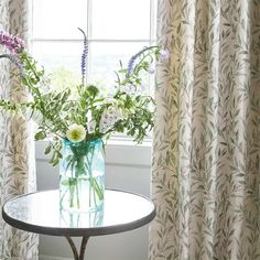 Country Cottage Interiors, Cottage Style, Designer Fabrics Online, Fabric Online, Willow Green, Willow Leaf, Pastel Colour Palette, Neutral Colors, Leaf Design