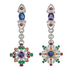 Colorful #Sapphire , #diamond and other coloured #gemstones #earrings By  #GiampieroBodino - Via @engastadores