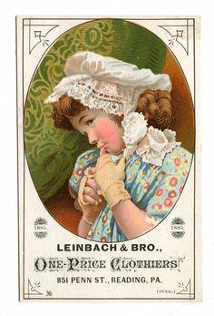 Victorian Trade Card Leinbach Co One Price Clothier Reading PA 1885 Clothes…