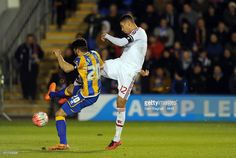 Chris Smalling of Manchester United scores a goal to make it 0-1 during the Emirates FA Cup match between Shrewsbury Town and Manchester United at New Meadow on February 22, 2016 in Shrewsbury, England.