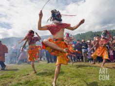 BHUTANese  MAN -DANCERS in costume at Thangbi Mani Tsechu-festival,     Jakar Bumthang Chokor Valley   BHUTAN  Asia