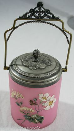 Antique Hand Painted Pink Glass Victorian Vintage Pickle Castor Silver Plate | eBay