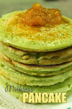 Madame's Kitchen: Milkless Pancake   fluffy and no milk pancakes recipe for those who are allergic to dairy products but loves to eat pancakes.   #pancakes #milkless #nondairy #nomilk #withoutmilk #zhangskitchen