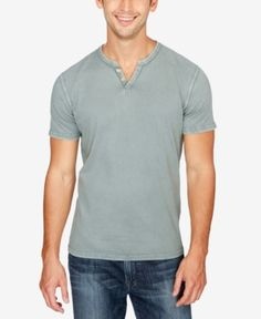 Add a layer of comfort and style to your casual look with this henley t-shirt from Lucky Brand. | Cotton | Machine washable | Imported | Button notch collar  | Short sleeves | Web ID:3323042