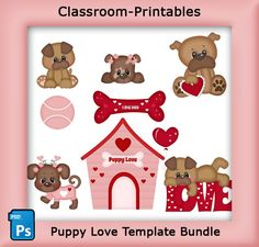 Puppy Love Template Bundle. Clipart Templates for Scrapbooking. For Digital Scrapbooking, Clipart, Creating Cards & Printables. Comes PSD Format For Use in Photoshop and Graphics Programs