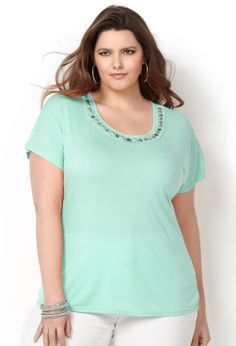 Jeweled Neck Tee-Plus Size Tee-Avenue