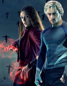 Scarlet Witch & Quicksilver Age of Ultron. My new favs!!! But of course quicksilver has to die!! my fav characters always die!!!!!!!!!