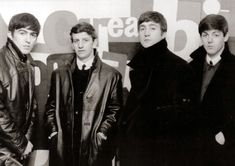 1963, June, Young Beatles, new to London, standing before the Robyn Denny abstract (The Austin Reed Mural, 1958) in the heart of town. Summer 1963, 103-113 Regent St., W1
