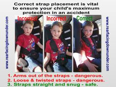 The Importance of correct strap placement - Rear-Facing Down Under Face Down, Snug, Children, Kids, Car Seats, Infographic, Education, Safety, Australia