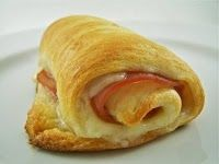Crescent rolls, sliced ham, sliced swiss cheese. 10-15 mins. Easy lunch on a cold day. We love these with soup!