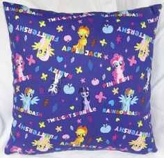 The second in the My Little Pony series. 14 inch pillow made of 100% cotton with a zipper on the bottom for easy washing.