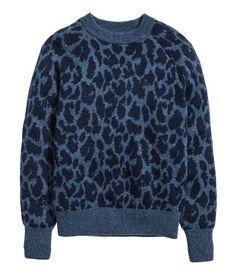Jacquardstickad tröja | Blå/Leopardmönstrad | Dam | H&M SE