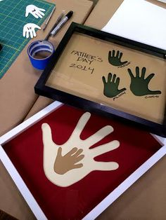 So cute!!! Not just for Father's Day! @Ken Feldman Vega Wingard  teaches us to make a handprint shadowbox for Father's Day!