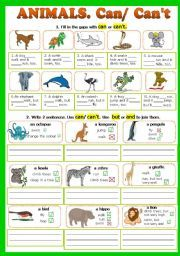 English worksheet: Can/Can´t. (Animals) - fully editable