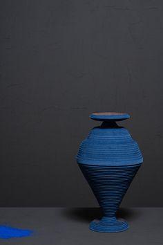 siba sahabi blue alchemy vases egyptian blue pigment designboom