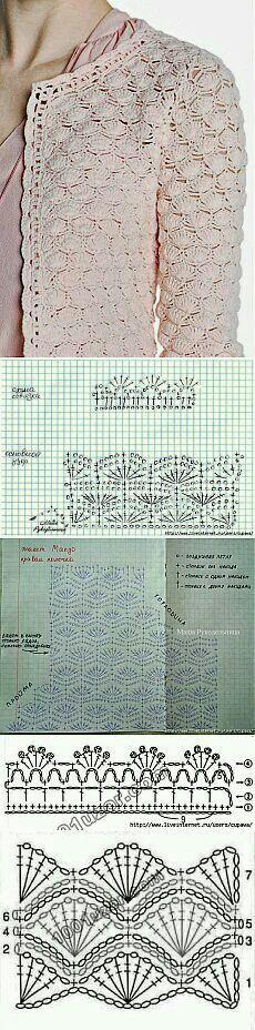 Ideas crochet shrug diagram beautiful for 2019 Filet Crochet, Crochet Coat, Crochet Jacket, Crochet Diagram, Crochet Cardigan, Crochet Motif, Crochet Shawl, Crochet Clothes, Mode Crochet