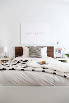 Clean bedroom with wood accents