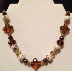 Brown Country Chic Short Necklace by LidsnGlitz on Etsy